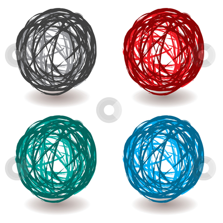 Scribble abstract ball stock vector clipart, Collection of pen scribble ball icons with shadow and color sets by Michael Travers