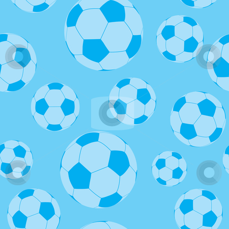Seamless football wallpaper stock vector clipart, Seamless football or soccer wallpaper background pattern in blue by Michael Travers