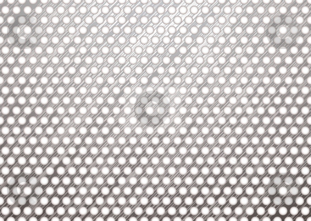 Metal grill shadow stock vector clipart, Silver metal background with brushed surface and white holes by Michael Travers