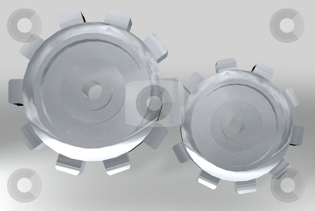 Subtle silver gears stock photo, Two silver metal gears with shiny reflective background and shadow by Michael Travers