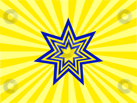 An abstract stars background  stock vector clipart, An abstract stars background with a blue and yellow star on a two tone yellow background by Mike Price
