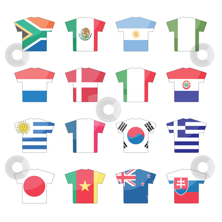 Countries flags icons - set 1 of 2 stock vector clipart, Total 32 countries flags icons in jersey design, for international games. set1 of 2. by Mtkang