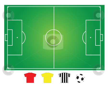 Soccer field, game play  stock vector clipart, Soccer or football field layout for strategy explanation by Mtkang