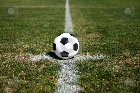 Soccer Ball On Center stock photo, Photo Of A Soccer Ball On The Centre Point Of The Stadium by Nick Fingerhut