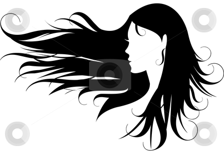 Woman with black hair stock vector clipart, Woman with curly black hair, vector by Beata Kraus