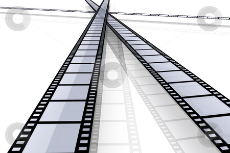 Film Strips stock photo, 3D Illustration. Isolated on white. by Michael Osterrieder