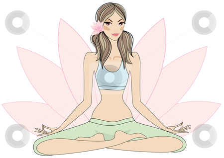 Woman in yoga pose stock vector clipart, Meditation, yoga girl sitting in lotus pose, vector by Beata Kraus
