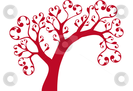 Ornamental tree with hearts stock vector clipart, Red ornamental tree with heart swirls by Beata Kraus.