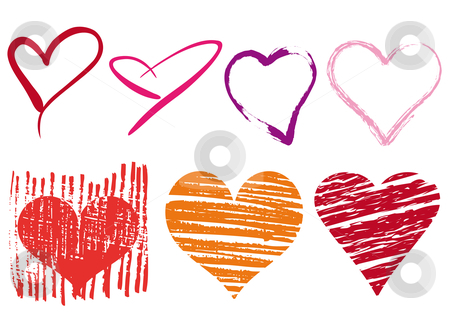 Scribble hearts set, vector stock vector clipart, Group of doodle hearts with grungy texture, vector by Beata Kraus