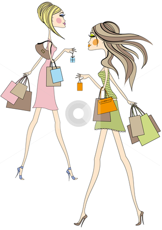 Women shopping stock vector clipart, Fashion girls walking with shopping bags, vector by Beata Kraus