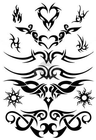 Attoo design elements stock vector clipart, Set of tattoo design elements, vector by Beata Kraus