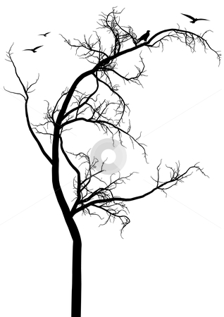 Black tree with birds stock vector clipart, Black tree with birds, vector background by Beata Kraus