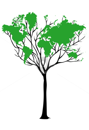 Think green world map tree map organic world stock photos images think green world map tree on peacock map tattoos and gumiabroncs Image collections