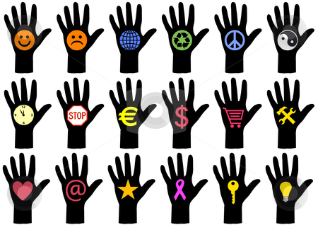 Hands With Icons Vector