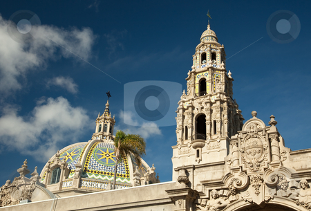 The Tower and Dome at Balboa Park, San Diego stock photo, The Tower and Dome at Balboa Park, San Diego, California Against a Deep Blue Sky. by Andy Dean
