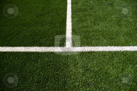 Soccer Field Mid Line stock photo, Closeup on white soccer field lines by Amanda Kelsey