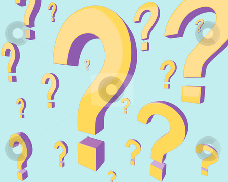 Many Questions Background stock photo, A background composed of gold and purple question marks, at varying distances from the viewer, on a light cyan background. by Mark Carrel