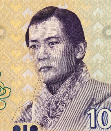 Jigme Singye Wangchuck stock photo, Jigme Singye Wangchuck (1955-) on 10 Ngultrum 2006 Banknote from Bhutan. King of Bhutan during 1972-2006. by Georgios Kollidas