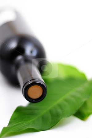 Bottle of wine stock photo, Bottle of wine isolated on white background with copyspace by Gunnar Pippel