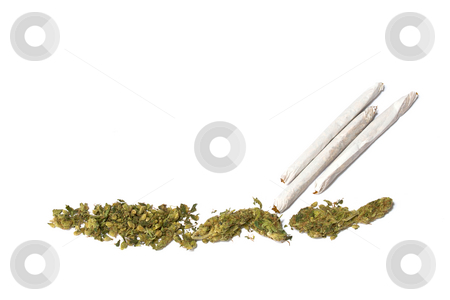Medical marijuana on white stock photo, Pile of medical marijuana stretches across the bottom of the image and  three joints  are at an angle by Stephen Orsillo