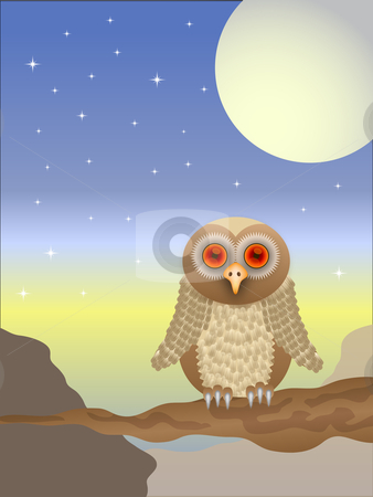 An owl vector  illustration with a brown owl with red eyes sitti stock vector clipart, An owl vector  illustration with a brown owl with red eyes sitting on a branch at sunset, saved in EPS 10 format by Mike Price