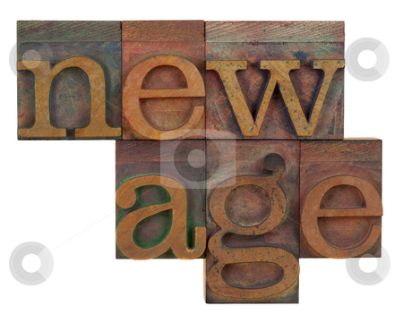 New age in wooden type stock photo, New age in vintage wood letterpress type, stained by color ink, isolated on white by Marek Uliasz
