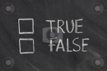 True or false checkboxes stock photo, True or false with checkboxes - white chalk handwriting on blackboard by Marek Uliasz