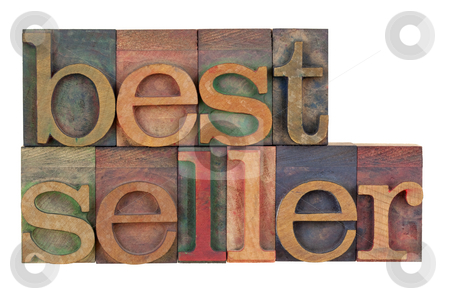 Bestseller - wood type stock photo, Bestseller - word in vintage wood letterpress type blocks stained by color inks, isolated on white by Marek Uliasz