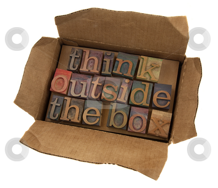 Think outside the box stock photo, Think outside the box concept, words  in vintage letterpress type  in open cardboard box, isolated on white by Marek Uliasz