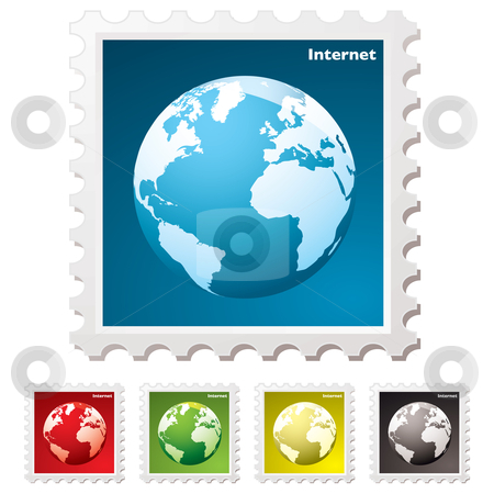 Internet world stamp stock vector clipart, Internet stamp concept with world icon and shadow by Michael Travers