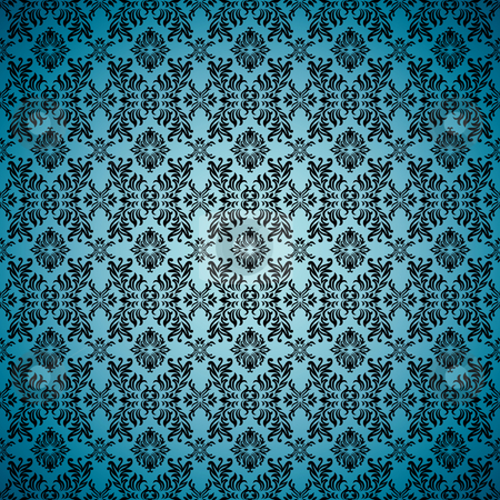 Gothic seamless blue wallpaper stock vector clipart, Blue seamless wallpaper background with tile gothic pattern by Michael Travers