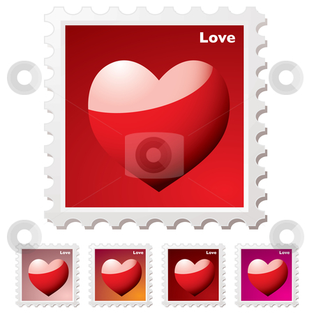 Love stamp stock vector clipart, Collection of love heart stamps in variation of red hues by Michael Travers