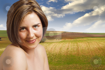 Happy woman, artistic nude in the meadow, environmental concept stock photo, Happy woman, artistic nude in the meadow, environmental concept by Fernando Cortes