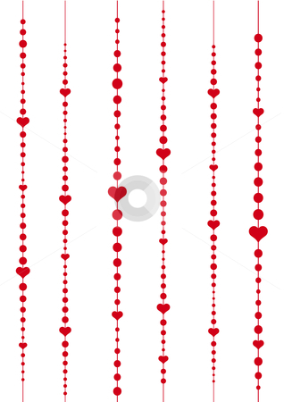 Heart chain stock vector clipart, Abstract vector background with red hearts by Beata Kraus