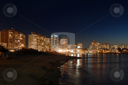 Seaside at night stock photo, Seaside at night. Punta del Este, Uruguay. by Cienpies Design
