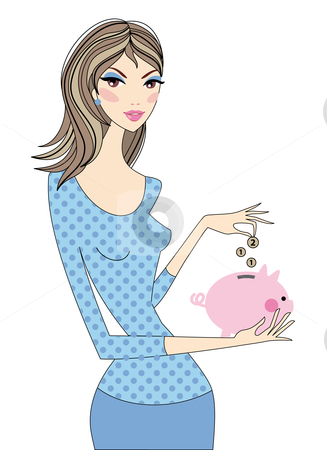 Woman saving money  stock vector clipart, Woman saving money with piggy bank, vector by Beata Kraus