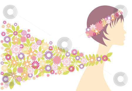 Spring woman stock vector clipart, Spring girl with flowers, vector background by Beata Kraus