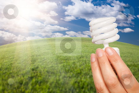 Female Hand with Energy Saving Light Bulb Over Field stock photo, Female Hand Holding Energy Saving Light Bulb Over Arched Horizon of Grass Field, Clouds and Sky. by Andy Dean