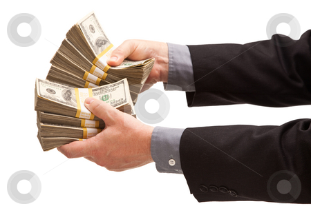 Man Handing Over Hundreds of Dollars stock photo, Man Handing Over Hundreds of Dollars Isolated on a White Background. by Andy Dean