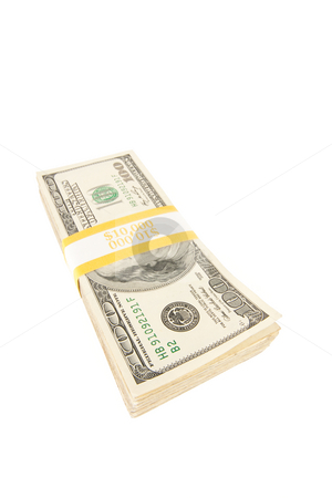 Stack of One Hundred Dollar Bills Isolated stock photo, Stack of Ten Thousand Dollar Pile of One Hundred Dollar Bills Isolated on a White Background. by Andy Dean
