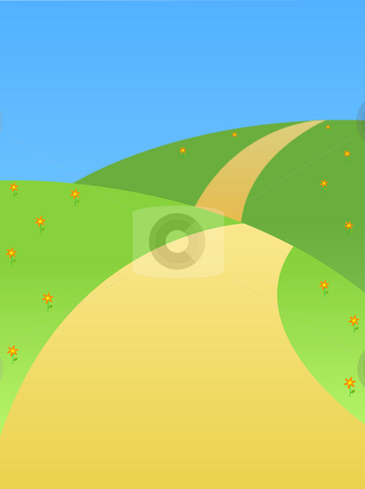 Road on a hill stock photo, Landscape of the road  on the hill by Su Li