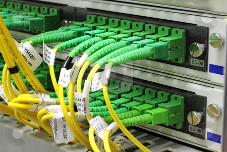 SC connectors in patch panel stock photo, Green singlemode sc connectors connected to patch panel by Artush