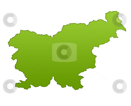 Slovenia map stock photo, Slovenia map in gradient green, isolated on white background. by Martin Crowdy