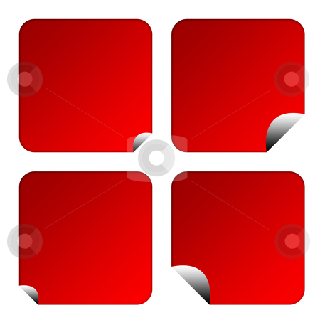 Blank red labels or buttons stock photo, Set of four blank red labels or buttons isolated on white background with copy space. by Martin Crowdy