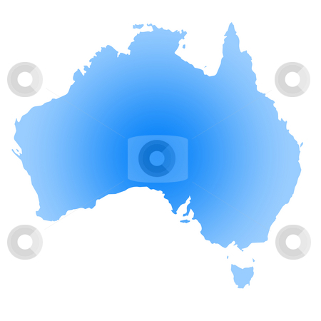 Gradient blue map of Australia stock photo, Gradient blue map of Australia isolated on white background. by Martin Crowdy
