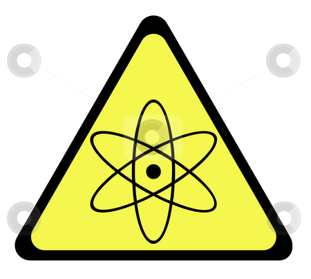 Nuclear warning sign stock photo, Yellow triangular nuclear warning sign, isolated on whte background. by Martin Crowdy