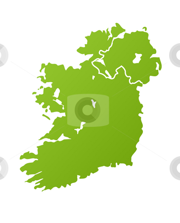Ireland map stock photo, Ireland map in green, isolated on white background. by Martin Crowdy