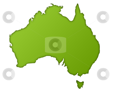 Australia map stock photo, Australia map in gradient green, isolated on white background. by Martin Crowdy
