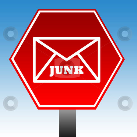 No junk mail sign stock photo, Red no junk mail sign with blue sky background. by Martin Crowdy