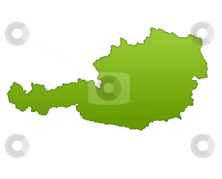 Austria map stock photo, Austria map in gradient green, isolated on white background. by Martin Crowdy
